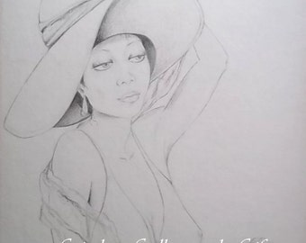 "Fine Art Print of ""TAMMEKA-Summer Breeze"", Print of Original Graphite drawing, RedRobinArt, Grigsby Gallery and Gifts"