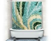 items similar to fabric shower curtain mosaic swirl aqua