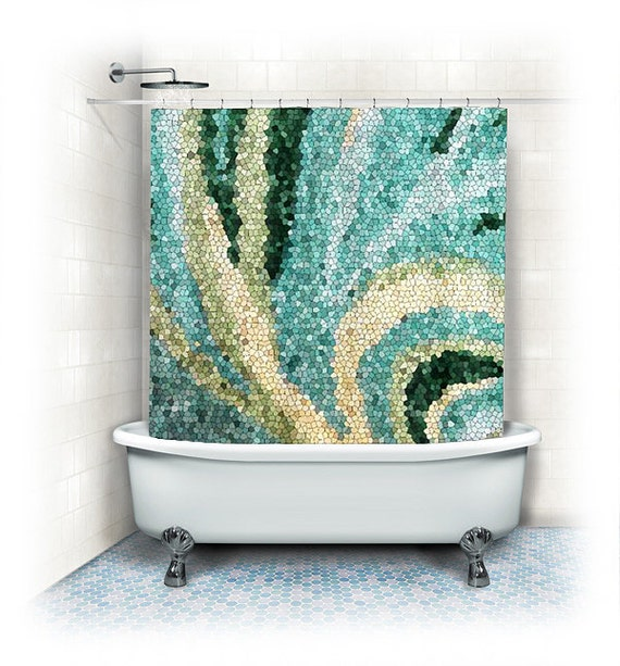"Fabric Shower Curtain ""Mosaic swirl""aqua home decor,teal,turquoise,blue,cream,abstract design,colorful curtain"