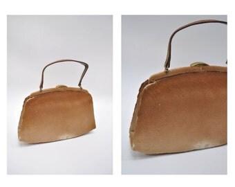 vintage 1950s purse leather bag cowhide fur rockabilly vlv 50s mad men
