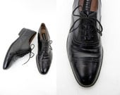 Vintage shoes / men's Fratelli Rossetti black classic leather oxfords / size 42.5, 43 - US 10