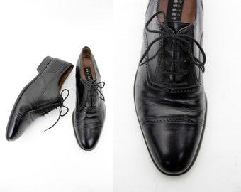 Vintage shoes / men's Fratelli Rossetti black classic leather oxfords / size 42.5, 43 - US 10