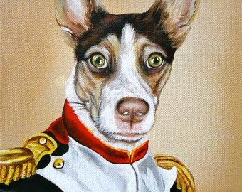 napoleon dog painting custom order Pet in COSTUME Sample painting Sample size 8x10