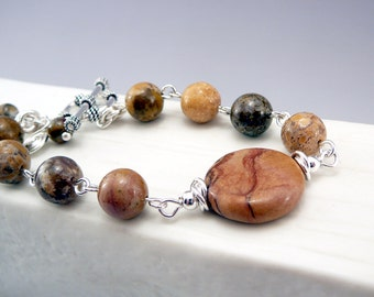 Jasper Bracelet, Brown Bracelet, Jasper Jewelry, Brown Bead Bracelet, Brown Jewelry, Girlfriend Gift, Bracelet Gift, Sterling Silver 925