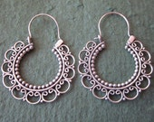 Balinese Sterling Silver circle hoop Earrings / silver 925 /  Bali handmade granulation jewelry