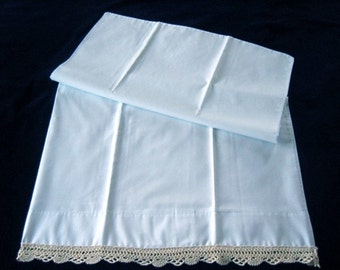 Pillow Case Vintage Antique Crochet Lace Trim Percale Single Standard Crocheted
