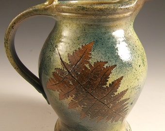 Pitcher Stoneware 64 ounce with Ferns in Green Leaf Glaze