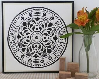 Budapest Drain Cover Lino Print - Manhole Cover Print, Sewer Cover Print, Budapest Art, Drain Cover Linocut,