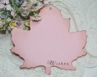 Wish Tree Wedding Tags - Light Pink - Autumn Leaf Shape - Bridal Shower Wish Tags - Set of 25