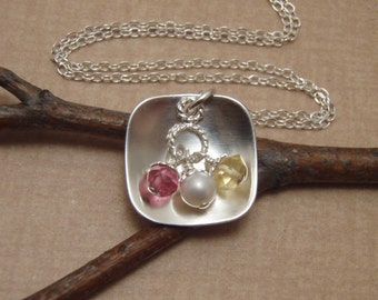 Mother's Birthstone necklace - Three birthstones - Dainty Mom Necklace - Sterling silver and birthstone necklace - Photo NOT actual size