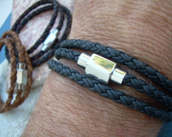Mens Triple Wrap Braided Leather Bracelet with Stainless Steel Magnetic Clasp, Mens Jewelry, Mens Bracelet, Leather Bracelet