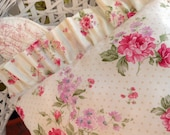 Shabby Chic Polkadots Pillow with Pink Roses and Stripes