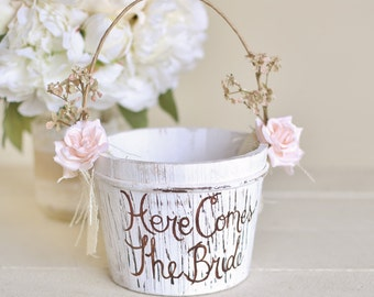 Here Comes The Bride Flower Girl Basket Rustic Shabby Chic Wedding (Item Number 140397) NEW ITEM