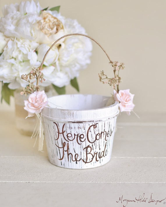 Flower Girl Baskets How To Make : Here comes the bride flower girl basket rustic by braggingbags