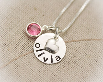 Tiny Heart Necklace Sterling Silver Hand Stamped Personalized Hand Stamped Necklace