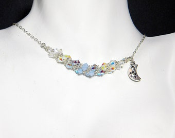 Sailor Moon Inspired Maboroshi no Ginzuishou Swarovski Crystal Necklace Beadweaving Sterling Silver