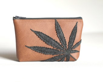 Marijuana Leaf Mini Zipper Bag - Pot Leaf Pouch - Charcoal Gray Marijuana Leaf Silhouette on Warm Brown Vegan Leather