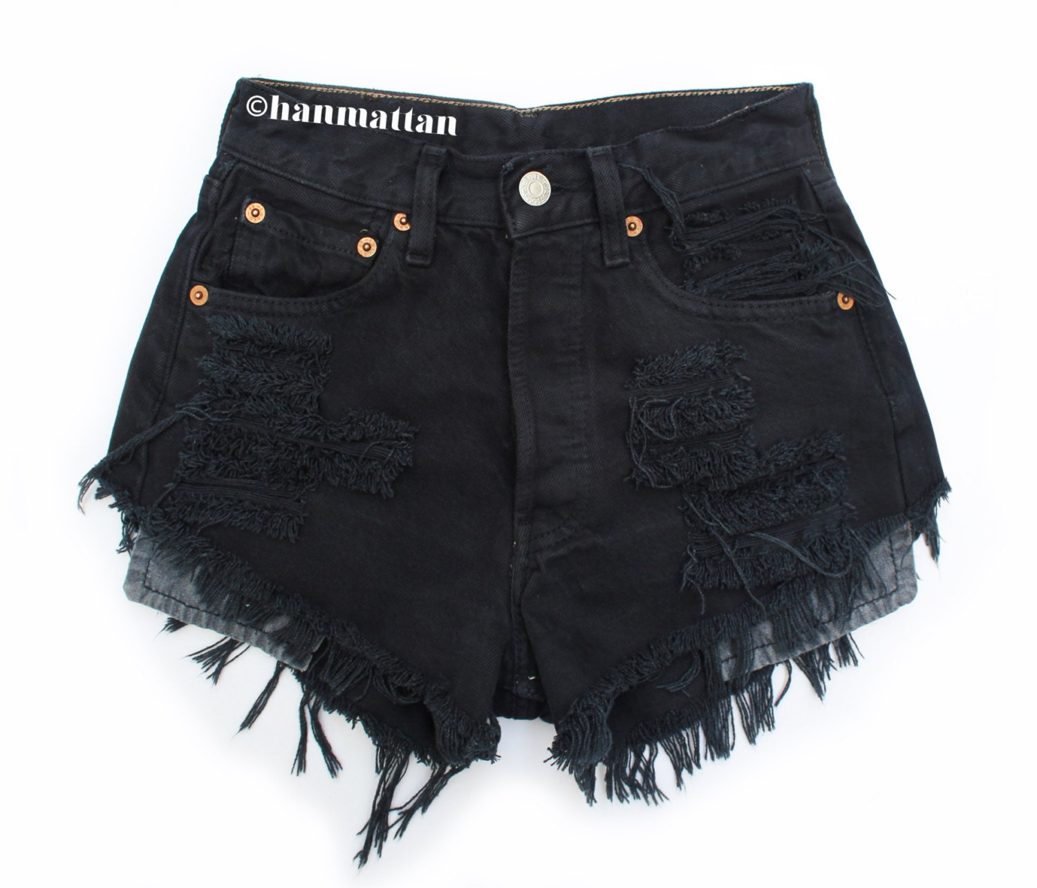 High Waisted Denim Shorts Black