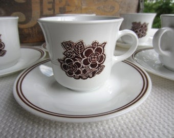 Vintage Batik Corelle Cups and Saucers set of 7 Brown Flower Corning