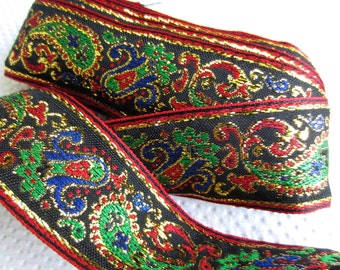 Vintage Jewel Tone Woven Golden Metallic Paisley Brocade Trim Yardage