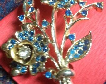 "Blue rhinestone Floral bouquet pin vintage retro brooch 2.5"" long"