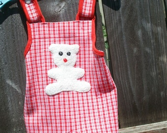 baby vintage overalls shorts - 6 months size - Little Boy red white bibs - size 18 lbs CARTERS  machine washable suspenders snap crotch