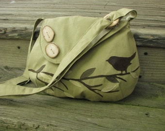 "Bird Shoulder Bag/ 12"" by 9""/ Canvas Tote, Vegan Purse, Eco-Friendly Handmade Messenger, Vegan Tote, School Bag"