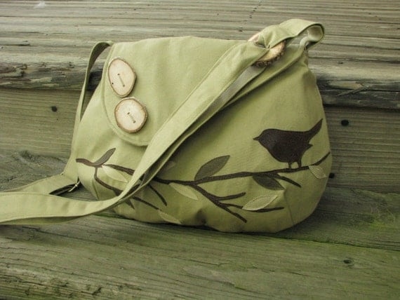 Bird Shoulder Bag. Vegan Purse, Handmade Messenger, Vegan Tote, School Bag, More Colors Available