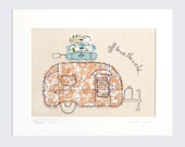 Original Embroidery Artwork - 'Airstream Bambi' in orange and blue - mounted 10x8