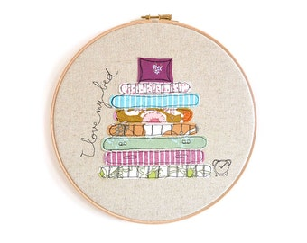 """I Love my Bed - Personalised Embroidered Hoop Art - Purple - Large 10"""" hoop"""