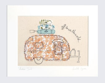Airstream Bambi - Personalised Caravan Mounted Embroidery - orange and blue - 10x8