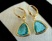 Bezel Setting Faceted Aquamarine Glass Gold Pierced Earrings