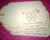 Owl Valentines Tags, Valentine Treat Bag Tags - Set of 12