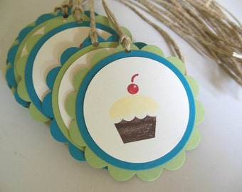 Cupcake Birthday or Baby Shower Gift Favor Tags - Set of 10