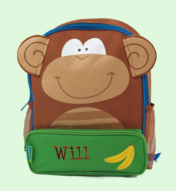 Personalized Child's Stephen Joseph Sidekicks Backpack MONKEY Themed