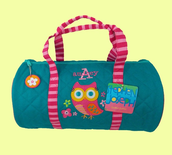 Child's Monogrammed Stephen Joseph New Style OWL Quilted Duffle Bag in Teal