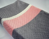 Changing Pad Cover Color Block Gray Coral Pink Ivory