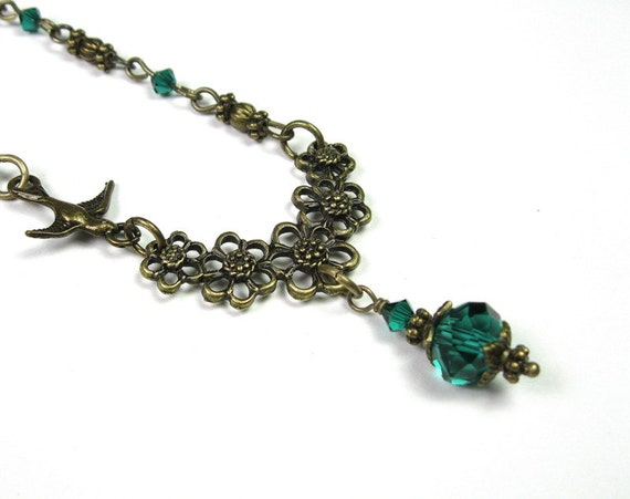 Vintage Style Necklace, Faceted Czech Glass Rondelles, Teal Green, Swarovski Crystal, Womens Accessories, Antiqued Brass, Gifts for Women