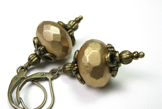 Honey Gold Metallic Czech Glass Earrings, Faceted Rondelles, Victorian Style, Womens Accessories, Antiqued Brass, For Her, Autumn, Fall