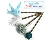 Flower Bird and Feather Bobby Pins, Ocean Beach Bobby Pins, Hair Accessories