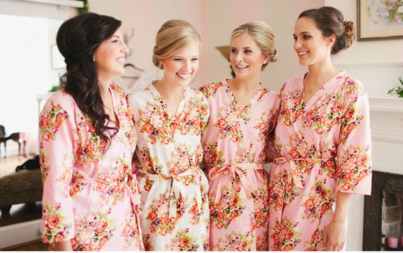 Bridesmaids robes Sets Kimono Crossover Robes Spa Wrap Perfect bridesmaids gift, getting ready robes, Bridal shower party wedding favors