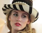 Vintage Embellished Faux Fur Velvet Wide Brim Hat S 22