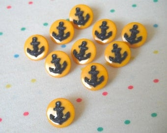 Purple Anchor, Round Flat Golden Yellow/Marigold Back, Nautical Style, Shank Buttons (10)