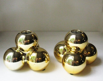Mid Century Golden Orbs Candlesticks