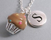 Chocolate Cupcake Necklace, Cupcake Charm, Chocolate Cupcake Keychain, Silver Plated Charm, Engraved, Personalized, Monogram