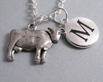 Cow Necklace, Cow Charm, Cow Keychain, Silver Plated Charm, Initial Charm, Personalized, Monogram