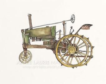 """Vintage Green Tractor - 8x10"""" Watercolor Print - Green Tractor, John Deere"""