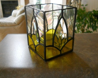 Yellow/Clear  stained glass and beveled glass candle holder