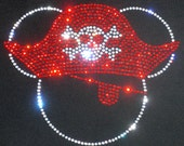 """7.5"""" Pirate Mickey Mouse Minnie skull crossbones clear rhinestone iron on TRANSFER for t shirt"""