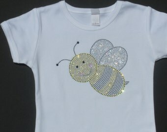 2T 3T 4T 5T 6X Toddler hot fix rhinestone Bumblebee shirt for Bumble Bee Costume